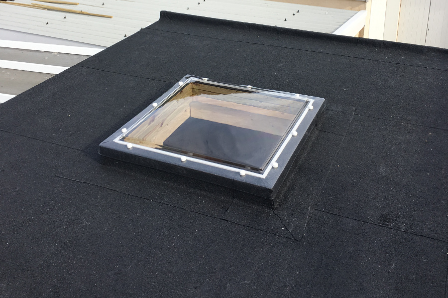 Roof light in flat roof.